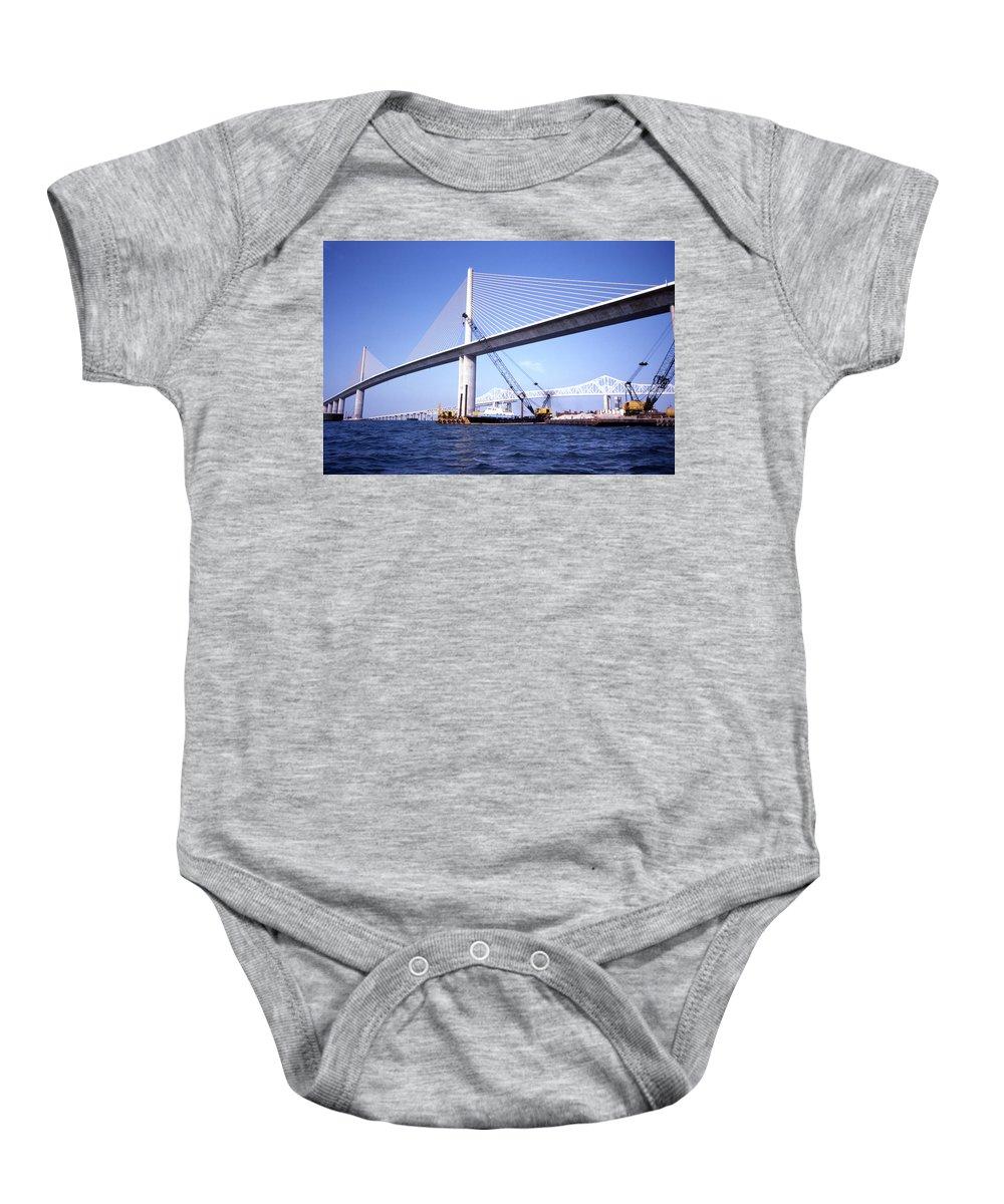 Sunshine Skyway Baby Onesie featuring the mixed media Sunshine Skyway Bridge by Richard Rizzo
