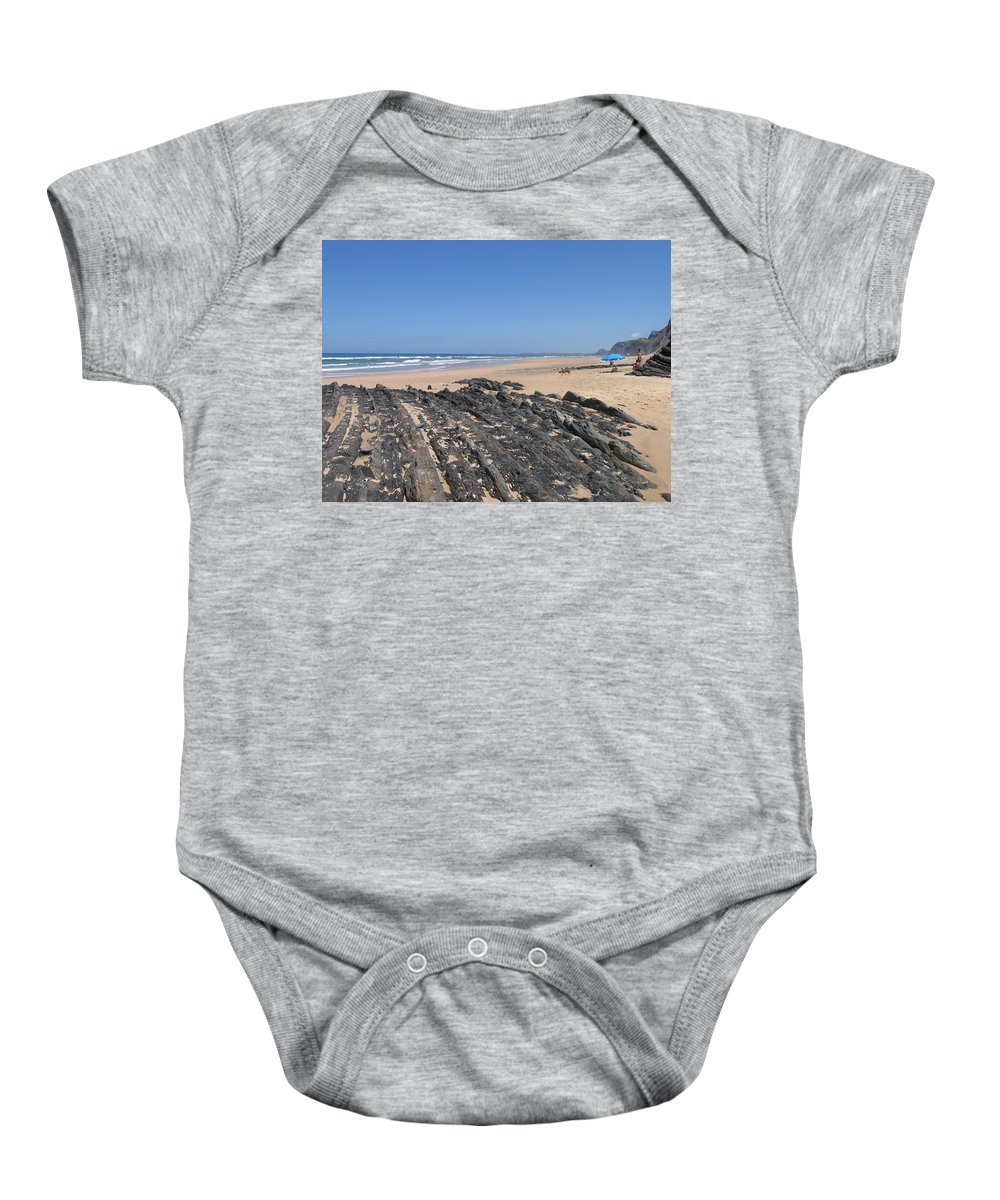Portugal Baby Onesie featuring the photograph Surf Beach Portugal by Kimberly Maxwell Grantier