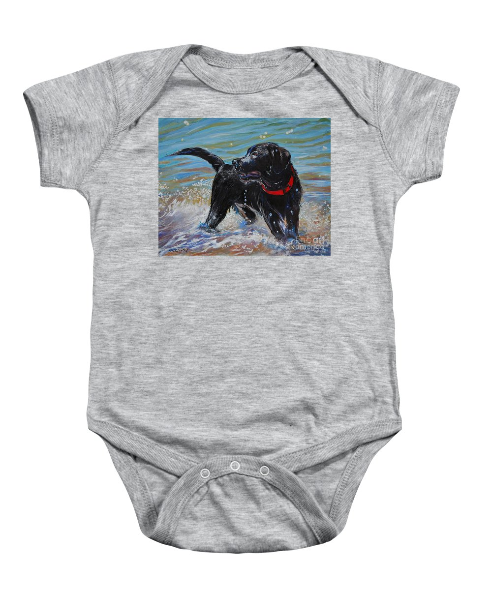 Black Labrador Retriever Puppy Baby Onesie featuring the painting Surf Pup by Molly Poole