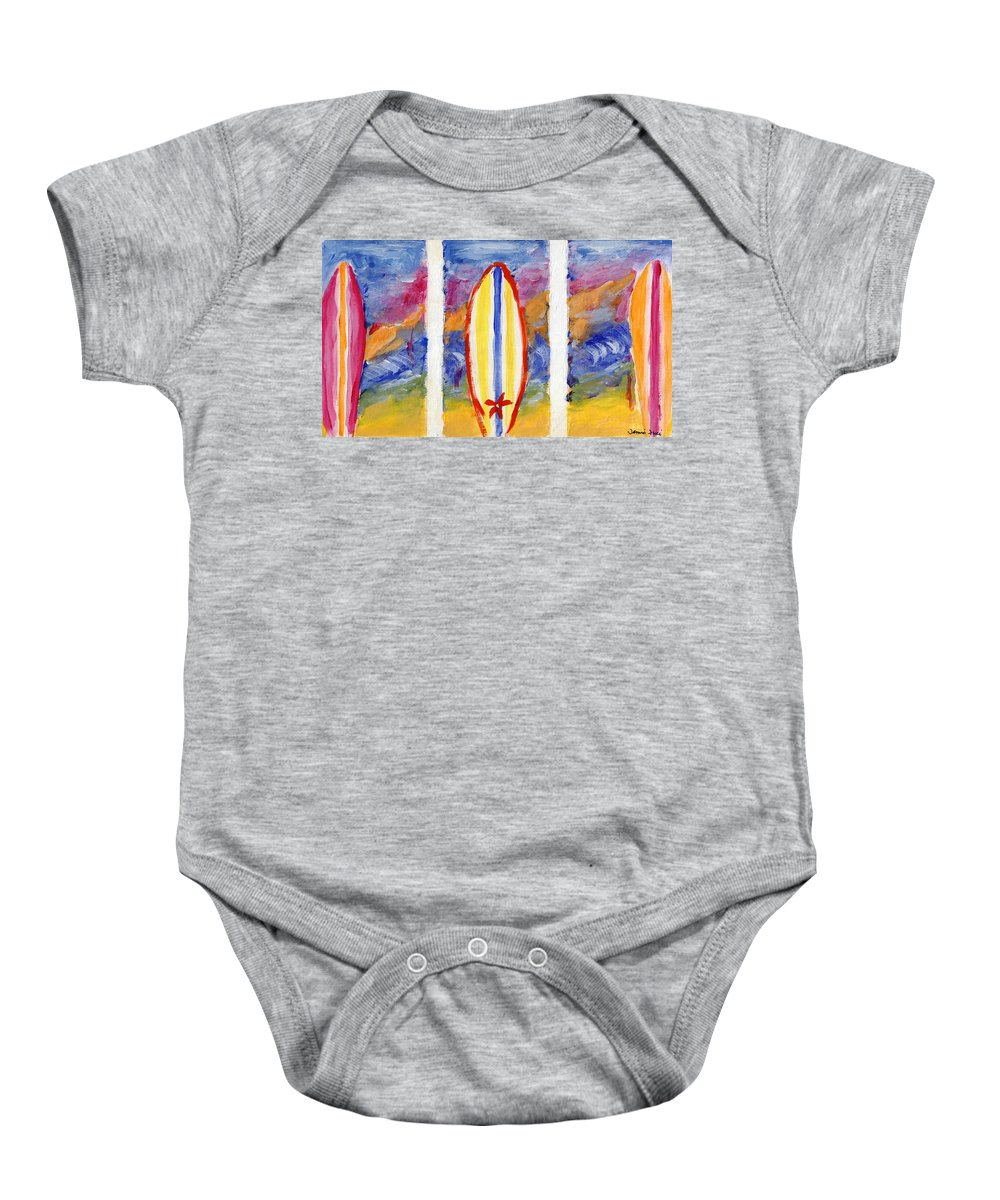 Surf Baby Onesie featuring the painting Surfboards 1 by Jamie Frier