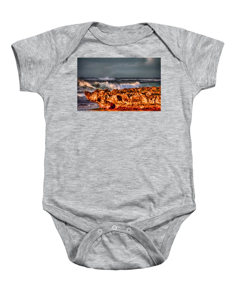 Surfer Baby Onesie featuring the photograph Surfing In The Usa V12 by Douglas Barnard
