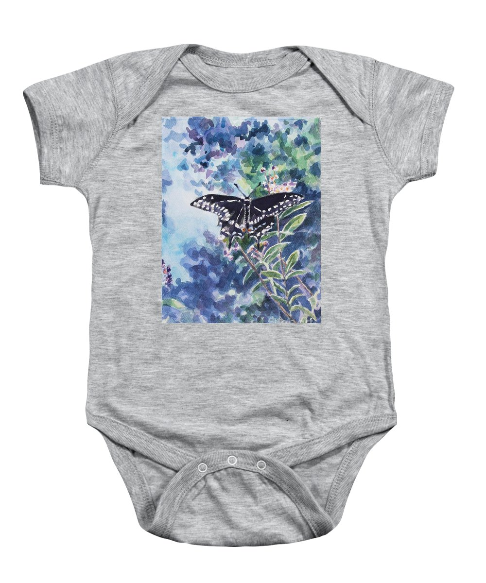 Butterfly Baby Onesie featuring the painting Swallowtail Butterfly by Jan Bennicoff