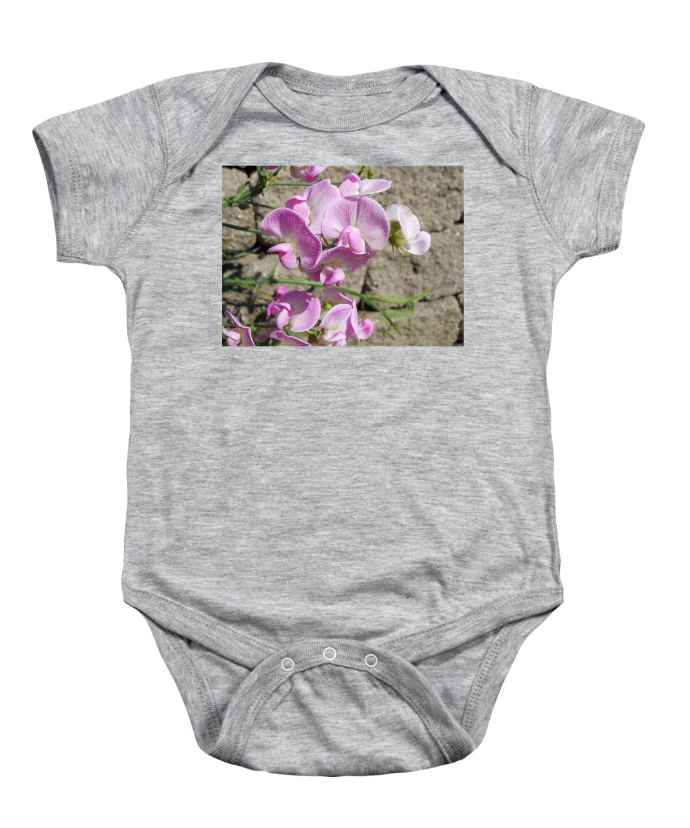 Flowers Baby Onesie featuring the photograph Sweet Peas by Coleen Harty