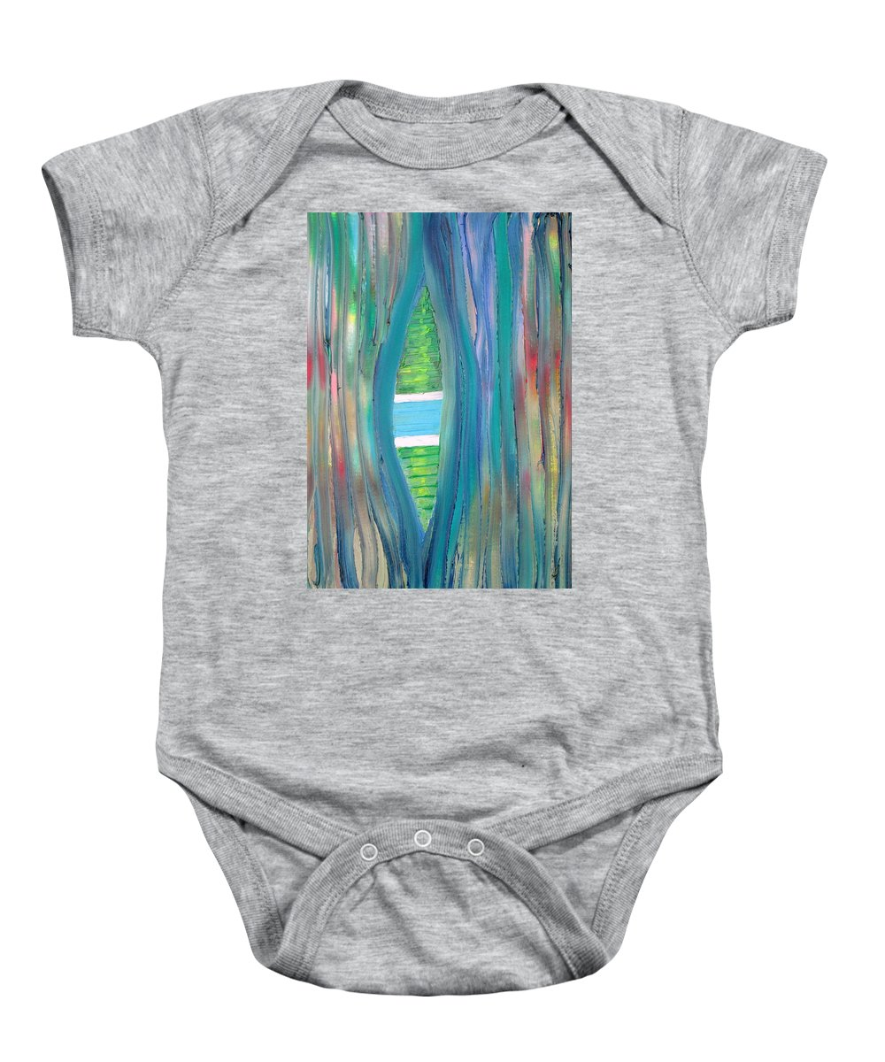 Swimming Baby Onesie featuring the painting Swimming Pool by Fabrizio Cassetta