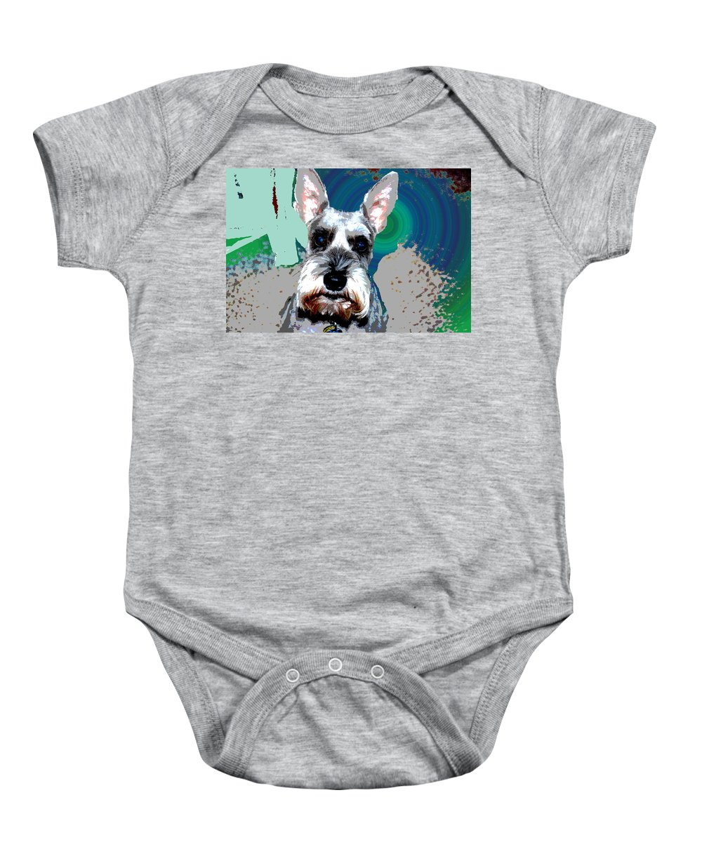 Schnauzer Baby Onesie featuring the photograph Sydney by Andrea Kainz