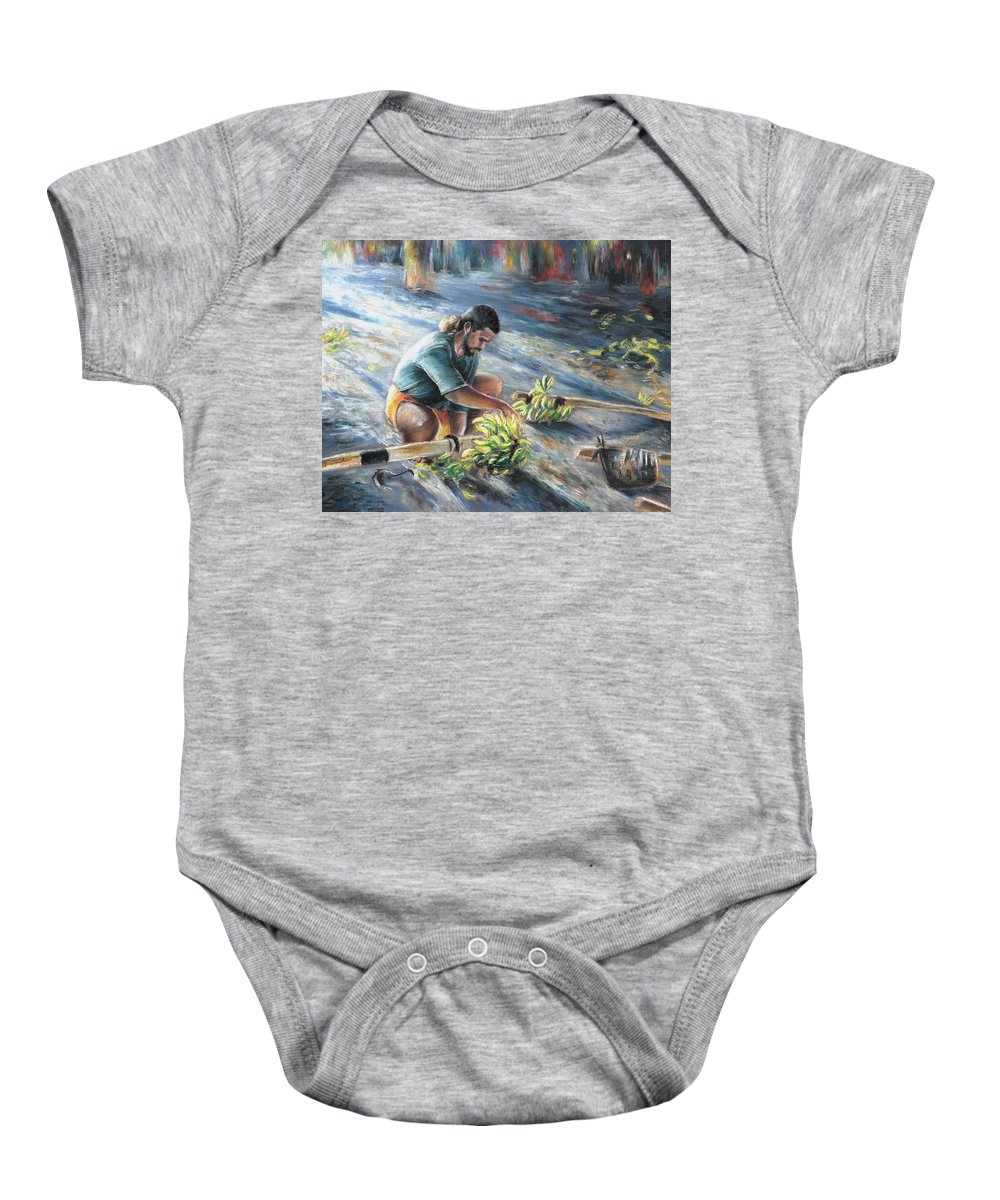 Travel Baby Onesie featuring the painting Tahitian Banana Carryer by Miki De Goodaboom