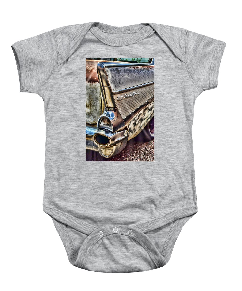 1957 Bel Air Baby Onesie featuring the photograph Taillight 1957 Chevy Bel Air by Ken Smith