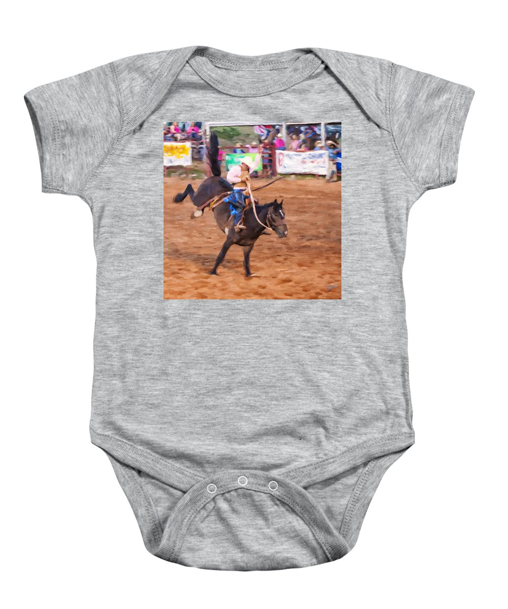 Cowboy Baby Onesie featuring the digital art Tailspin by Jack Milchanowski