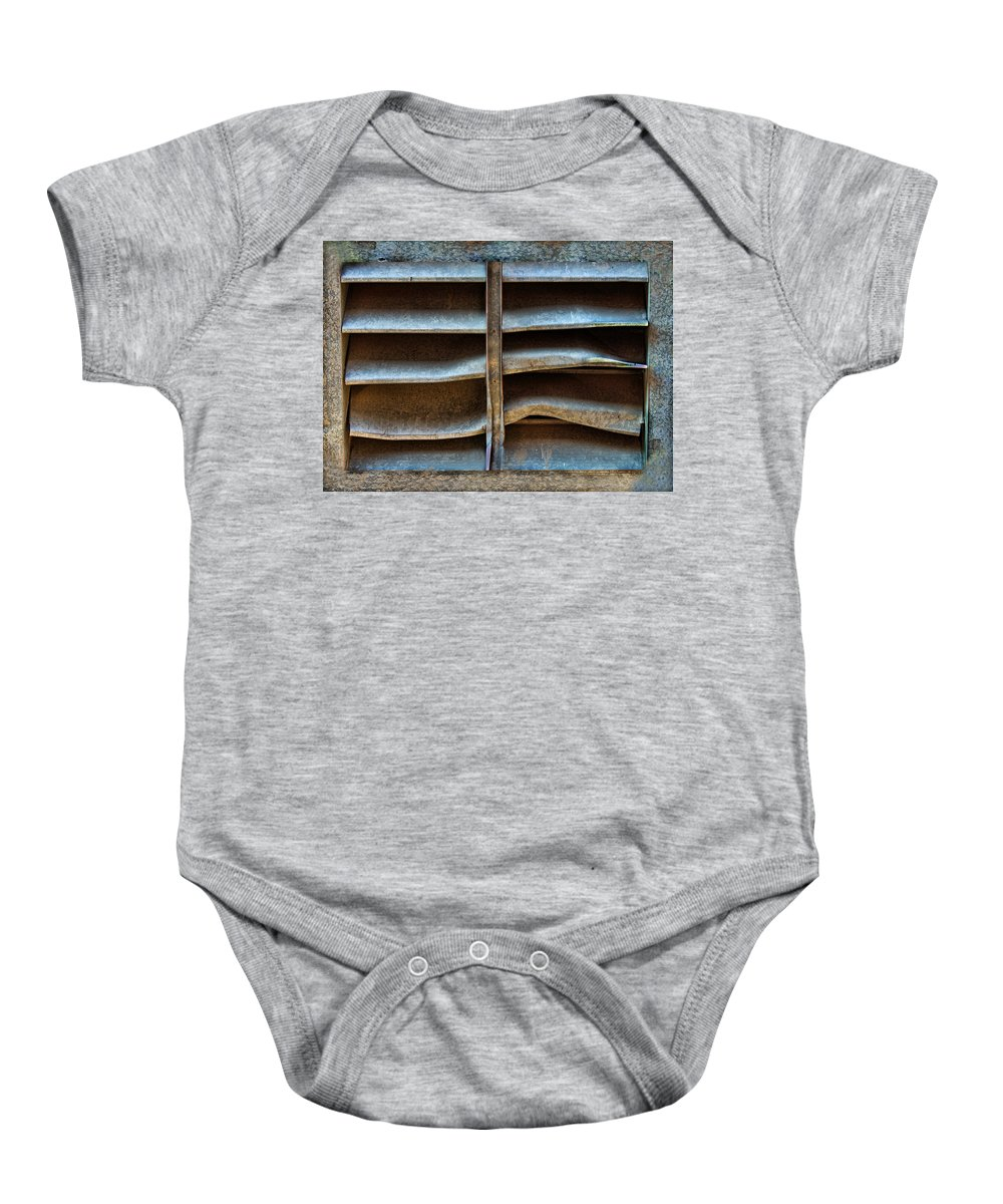 Abstract Baby Onesie featuring the photograph Talking Vent by Sylvia Thornton