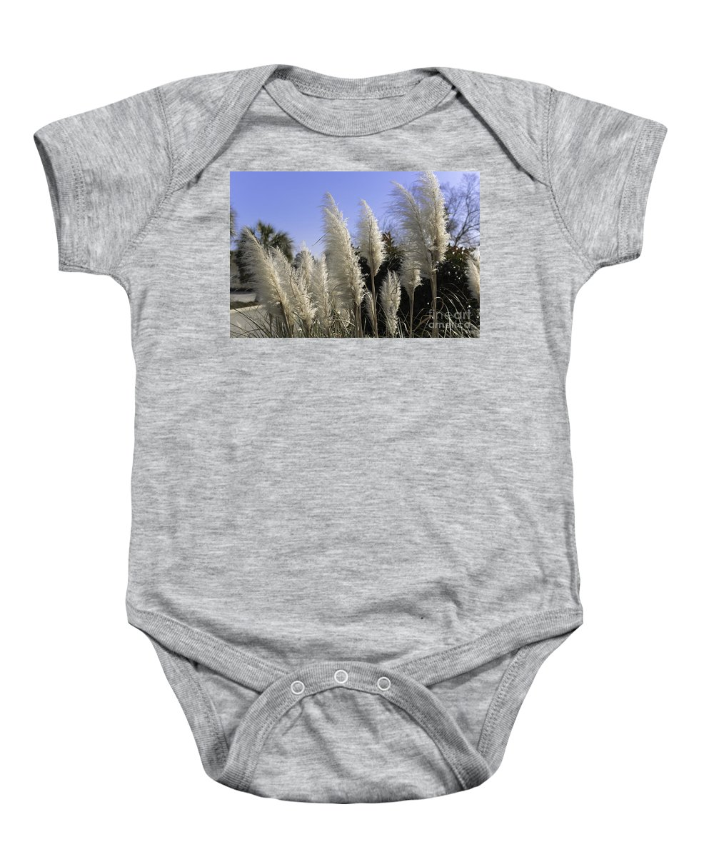 Pampas Grass Baby Onesie featuring the photograph Tall Wispy Pampas Grass by Dale Powell