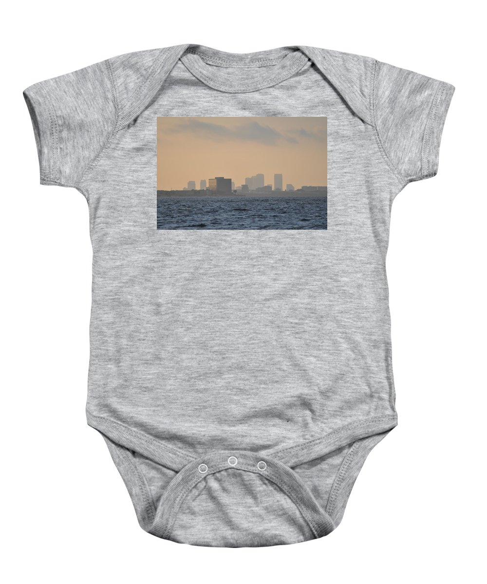 Tampa Baby Onesie featuring the photograph Tampa From The West Shore by Bill Cannon