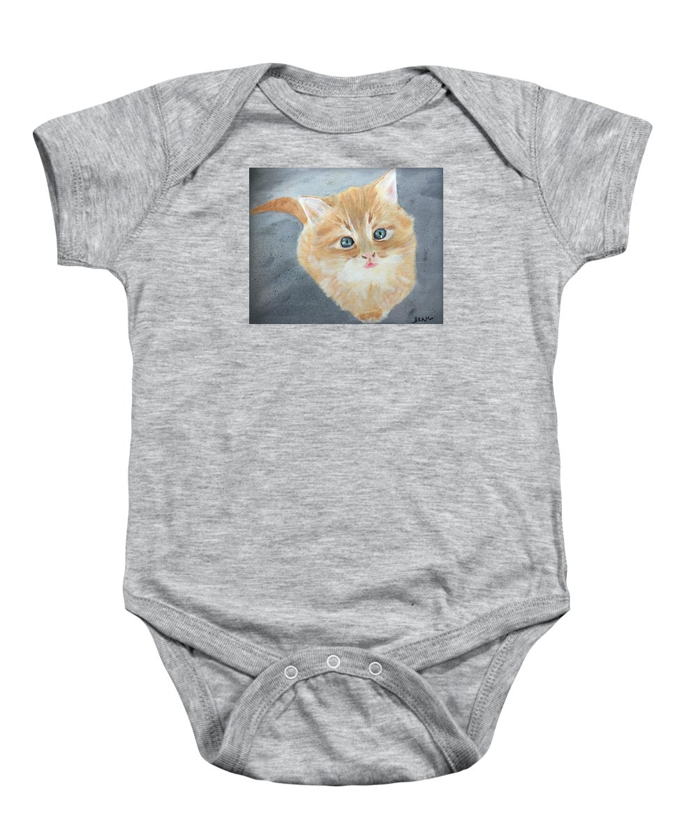 Kitten Baby Onesie featuring the painting Tater Bud Kitty by John Beam