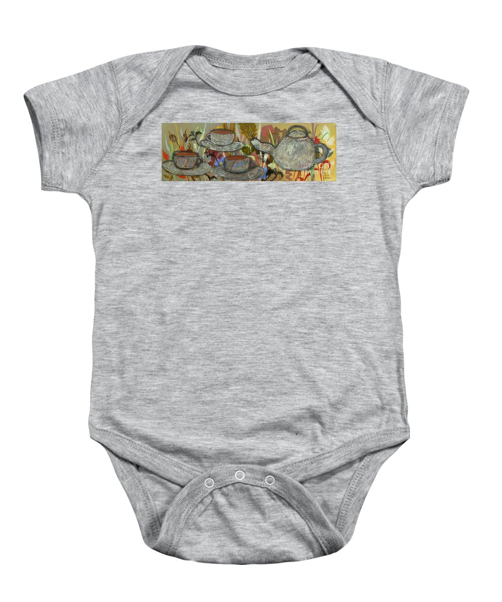 Tea Baby Onesie featuring the painting Tea For Three by Robin Maria Pedrero