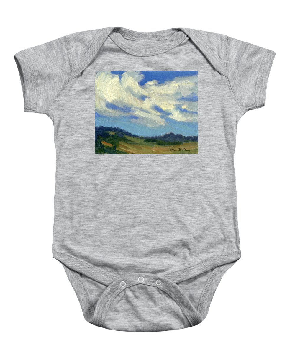 Clouds Baby Onesie featuring the painting Teanaway Passing Clouds by Diane McClary