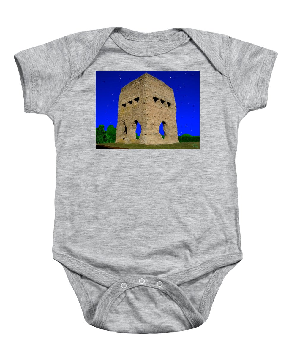 Temple Baby Onesie featuring the painting Temple Janus France by Bruce Nutting
