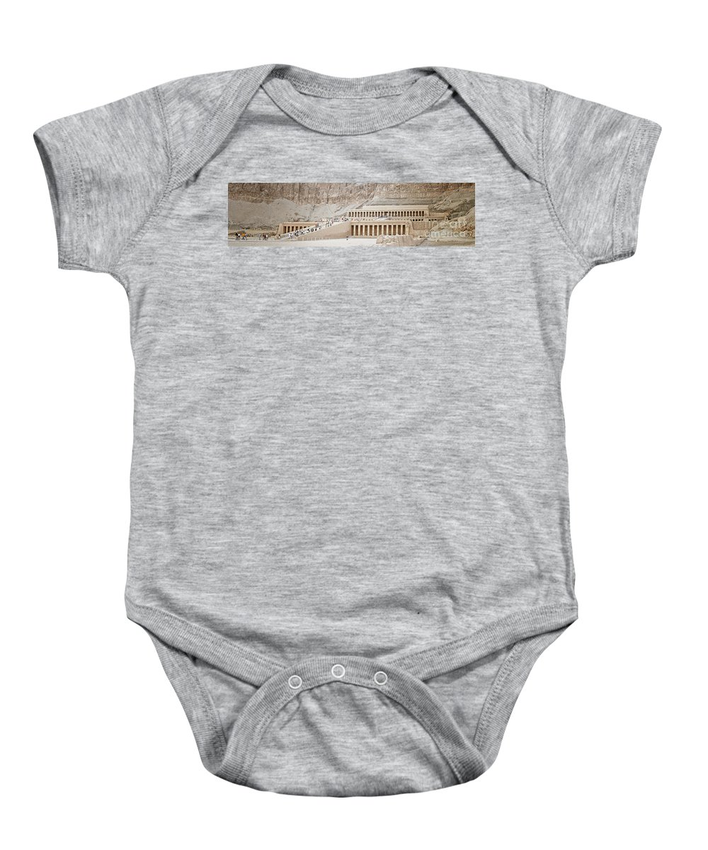 Valley Baby Onesie featuring the photograph Temple Of Hatsepsut In Egypt by Sophie McAulay