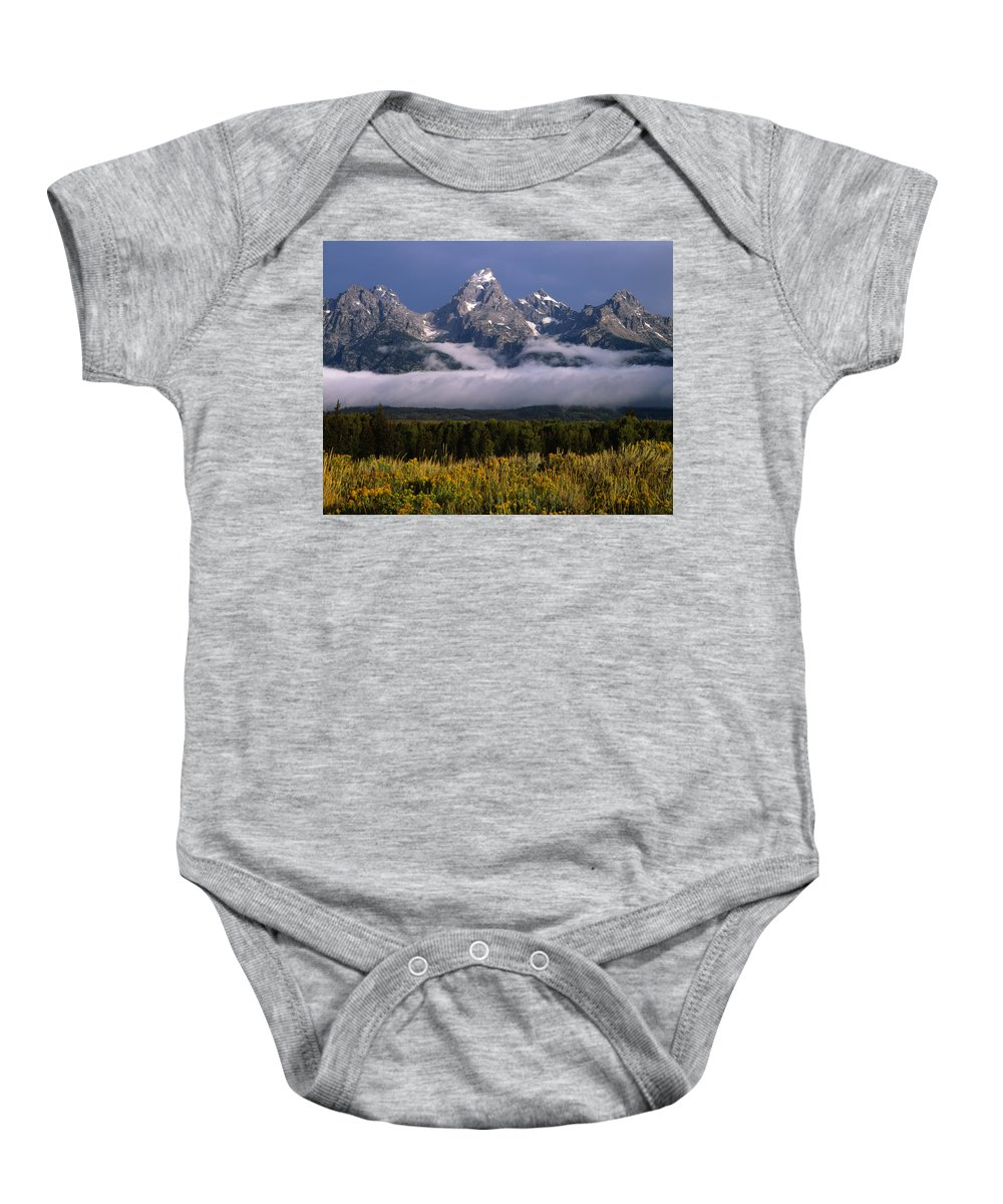 Fog Bank Baby Onesie featuring the photograph 1m9396-tetons Above Fog, Wy by Ed Cooper Photography