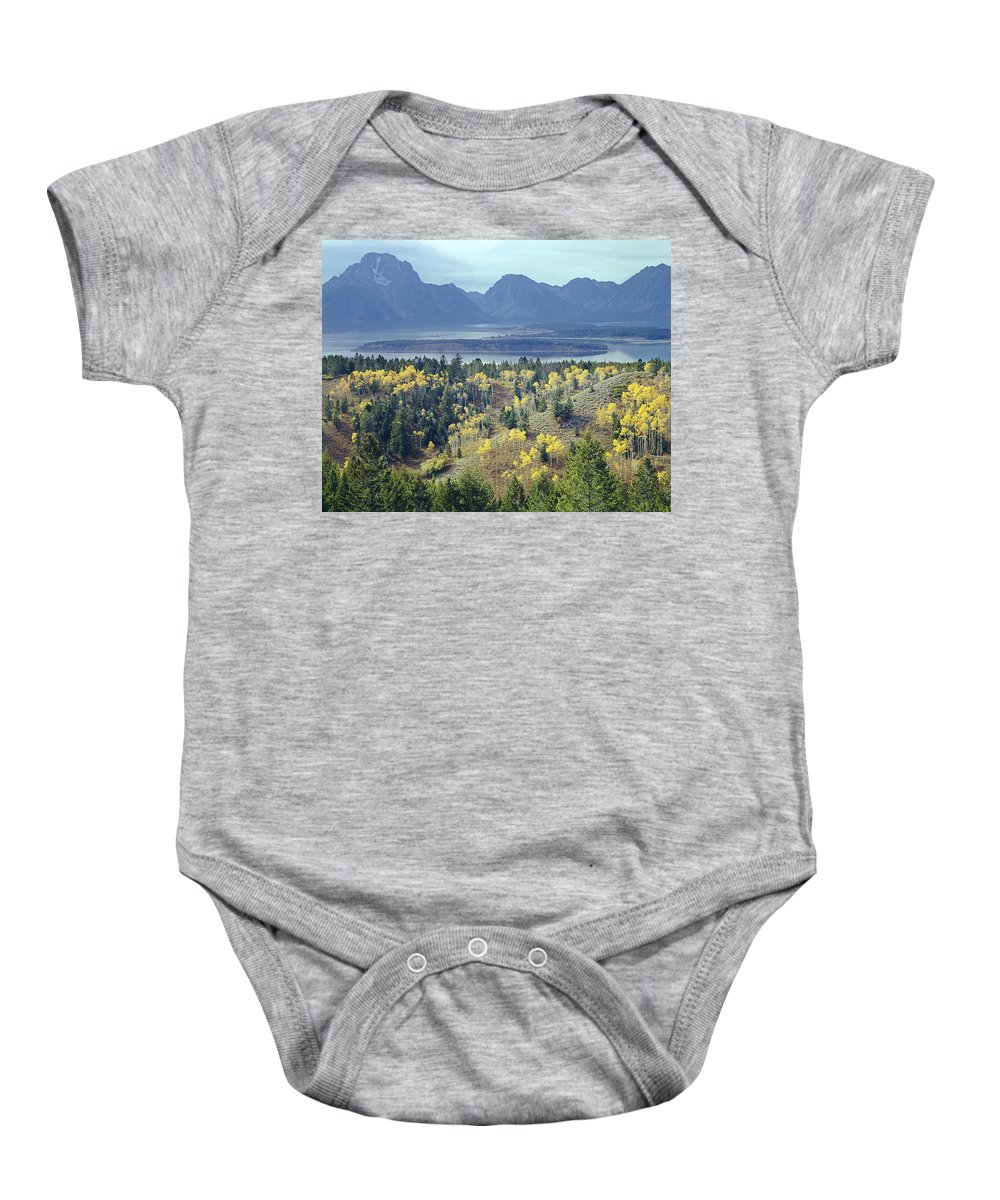 Signal Mountain Baby Onesie featuring the photograph 1m9209-tetons From Signal Mountain, Wy by Ed Cooper Photography