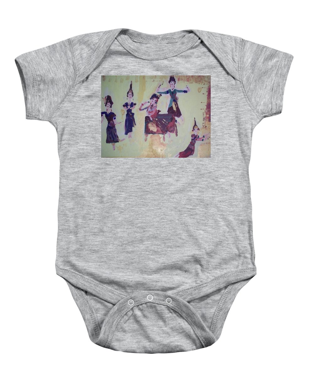 Dance Baby Onesie featuring the painting Thai Dance by Judith Desrosiers