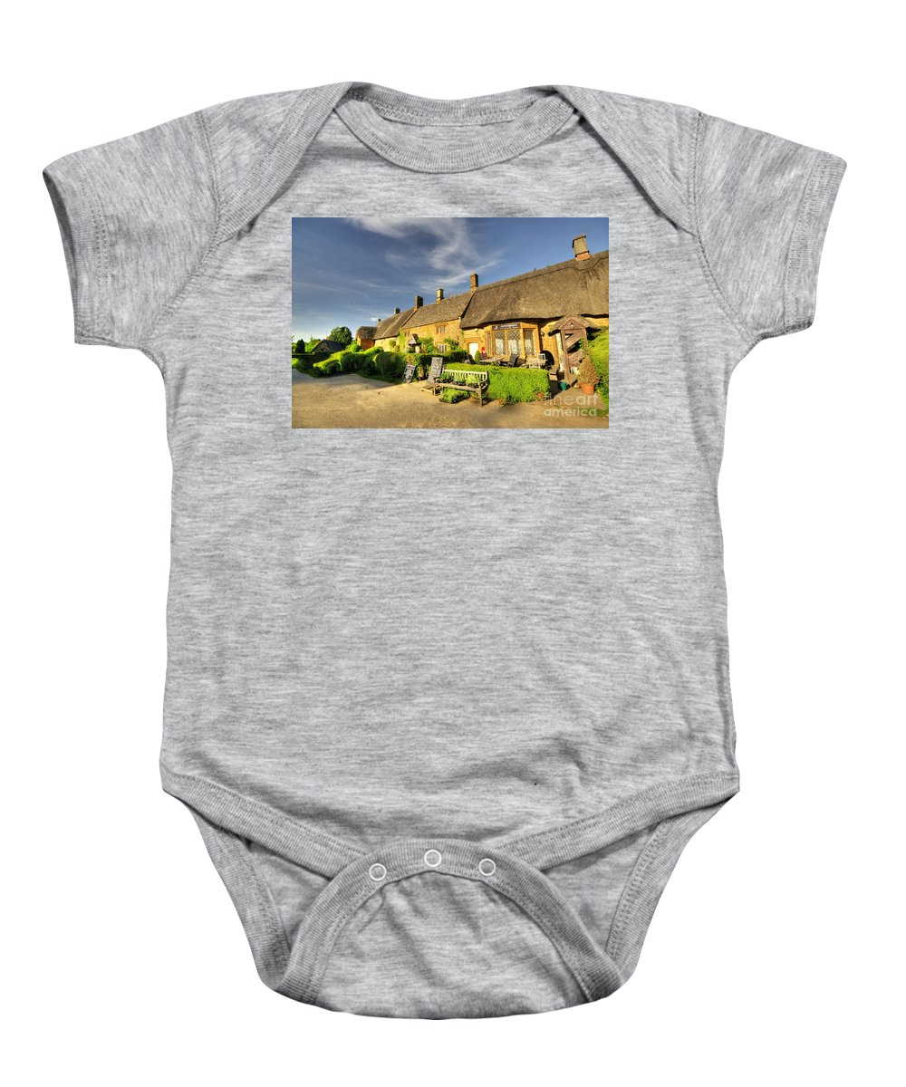Great Baby Onesie featuring the photograph Thatched Cottages At Great Tew by Rob Hawkins