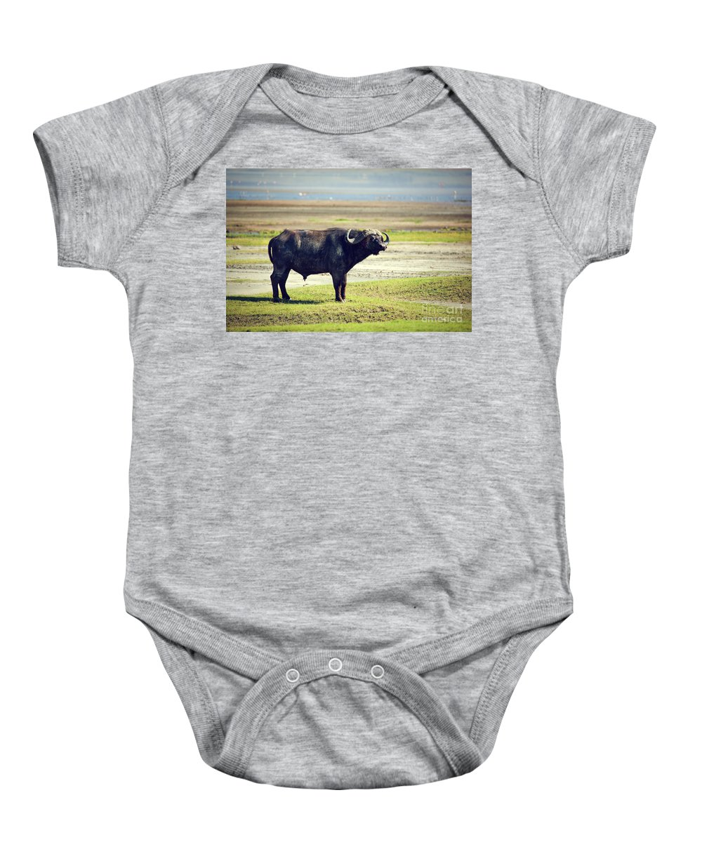 Buffalo Baby Onesie featuring the photograph The African Buffalo. Ngorongoro In Tanzania. by Michal Bednarek