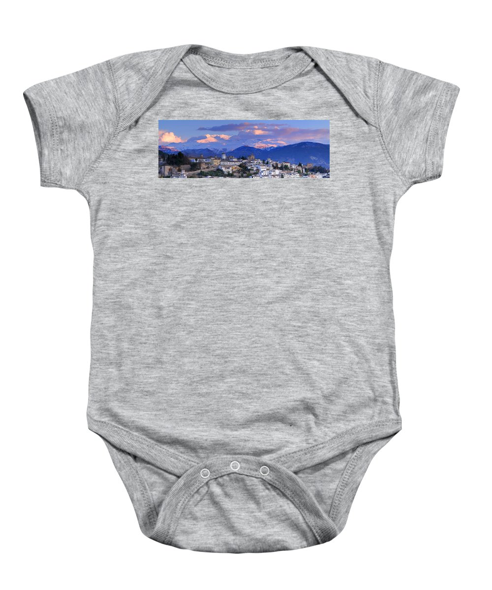 The Alhambra Baby Onesie featuring the photograph The Alhambra And Granada by Guido Montanes Castillo