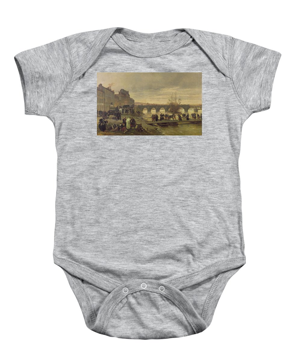 Stretchers Baby Onesie featuring the photograph The Ambulance De La Presse At Joinville During The Siege Of Paris Oil On Canvas by Alfred Decaen