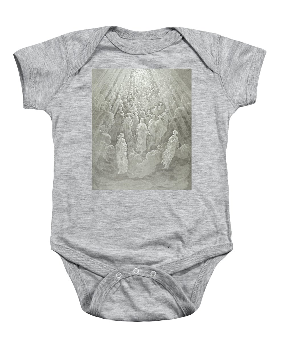 Gustave Dore Baby Onesie featuring the painting The Angels In The Planet Mercury by Gustave Dore