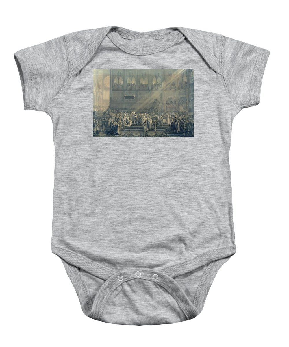 Cathedral Baby Onesie featuring the photograph The Baptism Of The King Of Rome 1811-32 At Notre-dame, 10th June 1811, After 1811 Engraving by French School