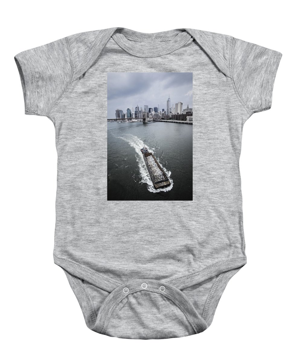 Manhattan Baby Onesie featuring the photograph The Barge by Alex Potemkin