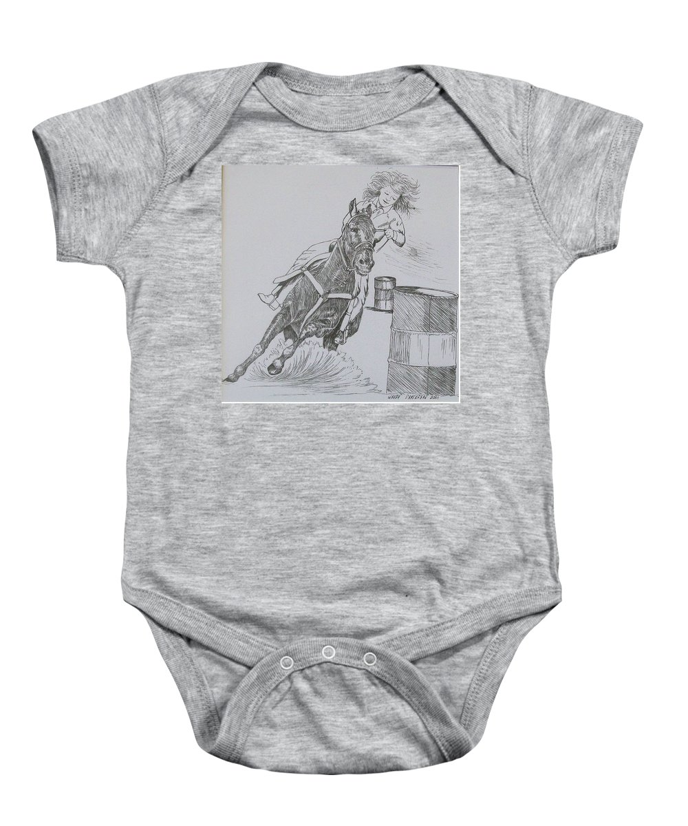 Black And Grey Black Poster Baby Onesie featuring the drawing The Barrel Racer by Wanda Dansereau