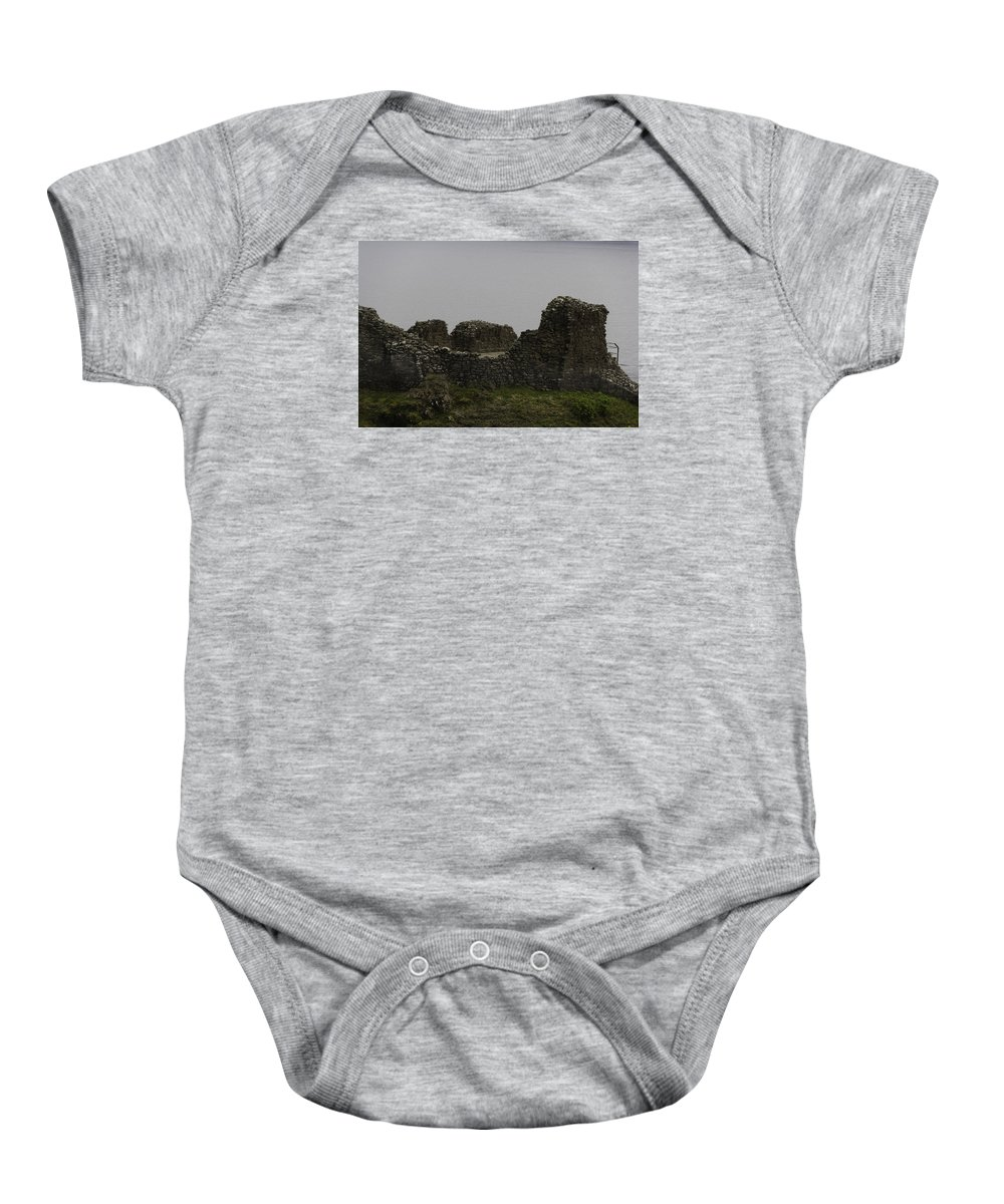 Ancient Structure Baby Onesie featuring the photograph The Battered Remains Of The Urquhart Castle In Scotland by Ashish Agarwal