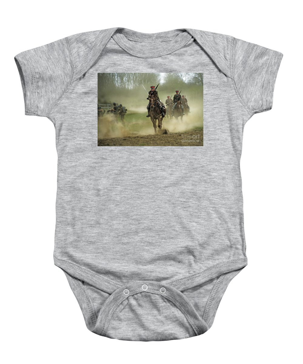 Cavalry Baby Onesie featuring the photograph The Battle by Angel Ciesniarska