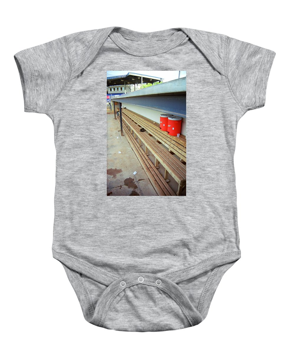 America Baby Onesie featuring the photograph The Bench by Frank Romeo