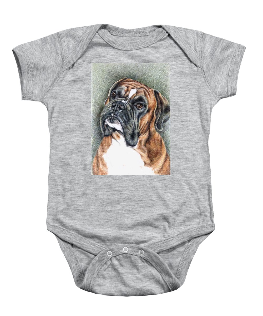 Dog Baby Onesie featuring the drawing The Boxer by Nicole Zeug