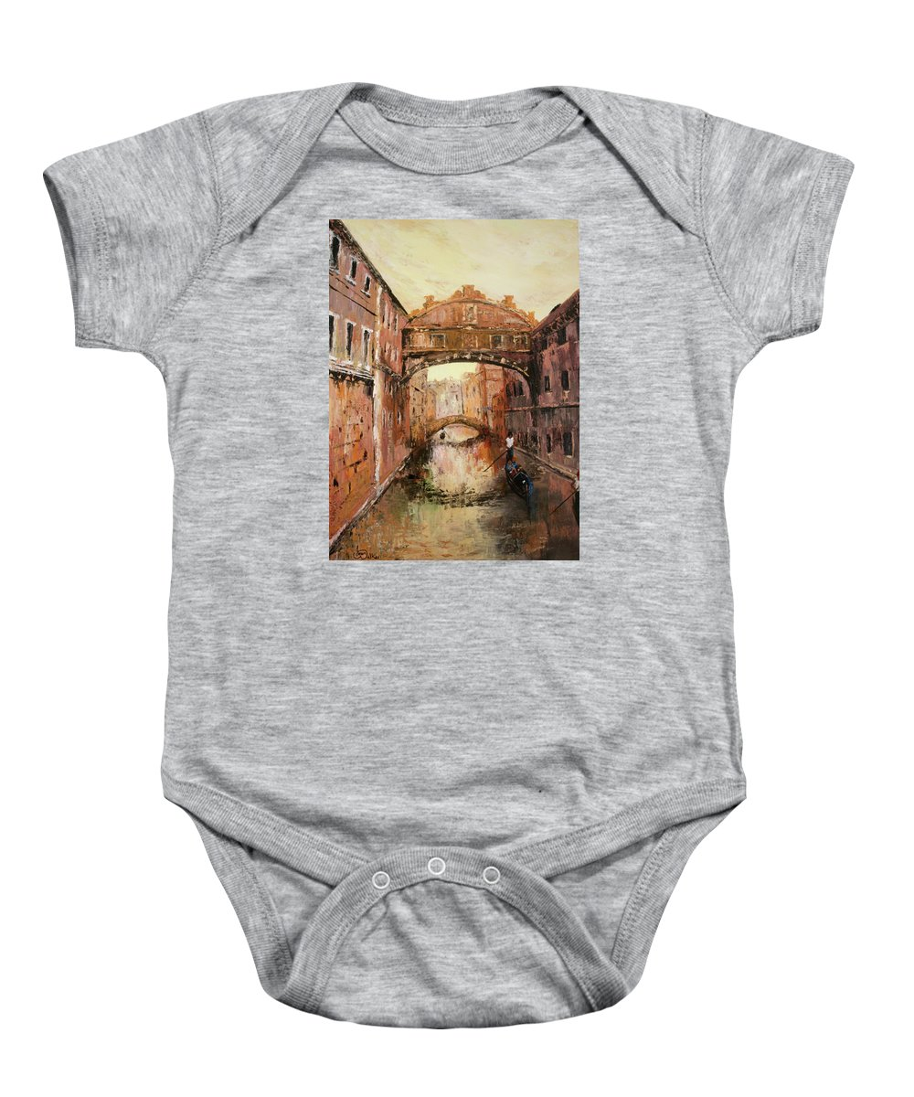 Venice Baby Onesie featuring the painting The Bridge Of Sighs Venice Italy by Jean Walker
