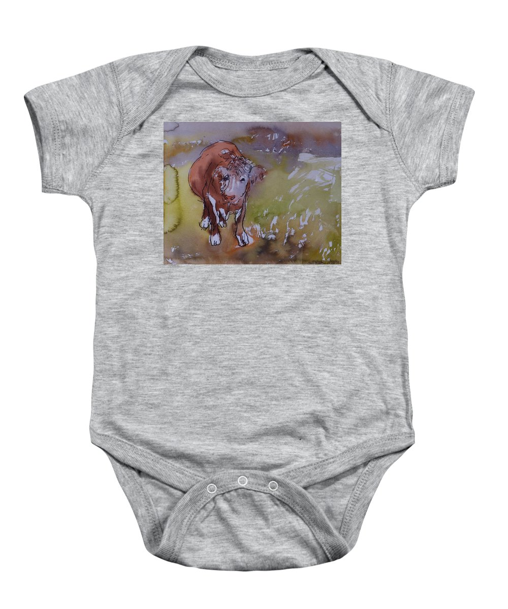 Bull Baby Onesie featuring the photograph The Bullock, 1983 Pen & Ink With Wc On Paper by Brenda Brin Booker
