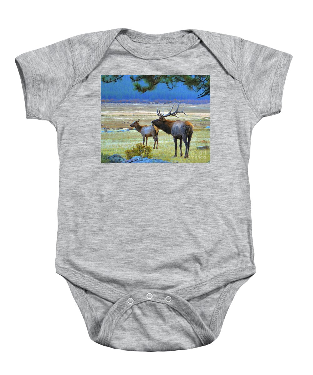 Elk Baby Onesie featuring the photograph The Call by Kelly Black