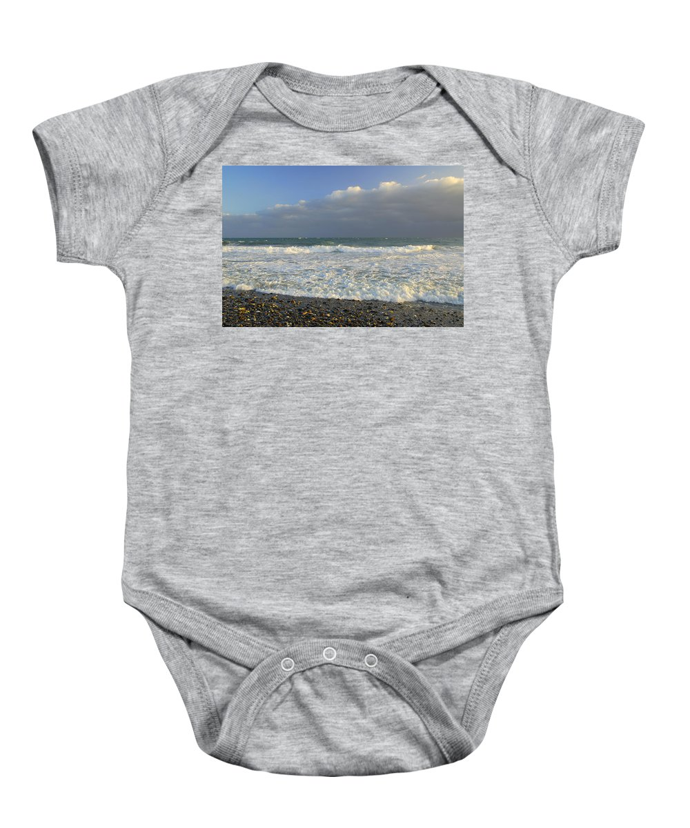 Seascape Baby Onesie featuring the photograph The Cloud by Guido Montanes Castillo