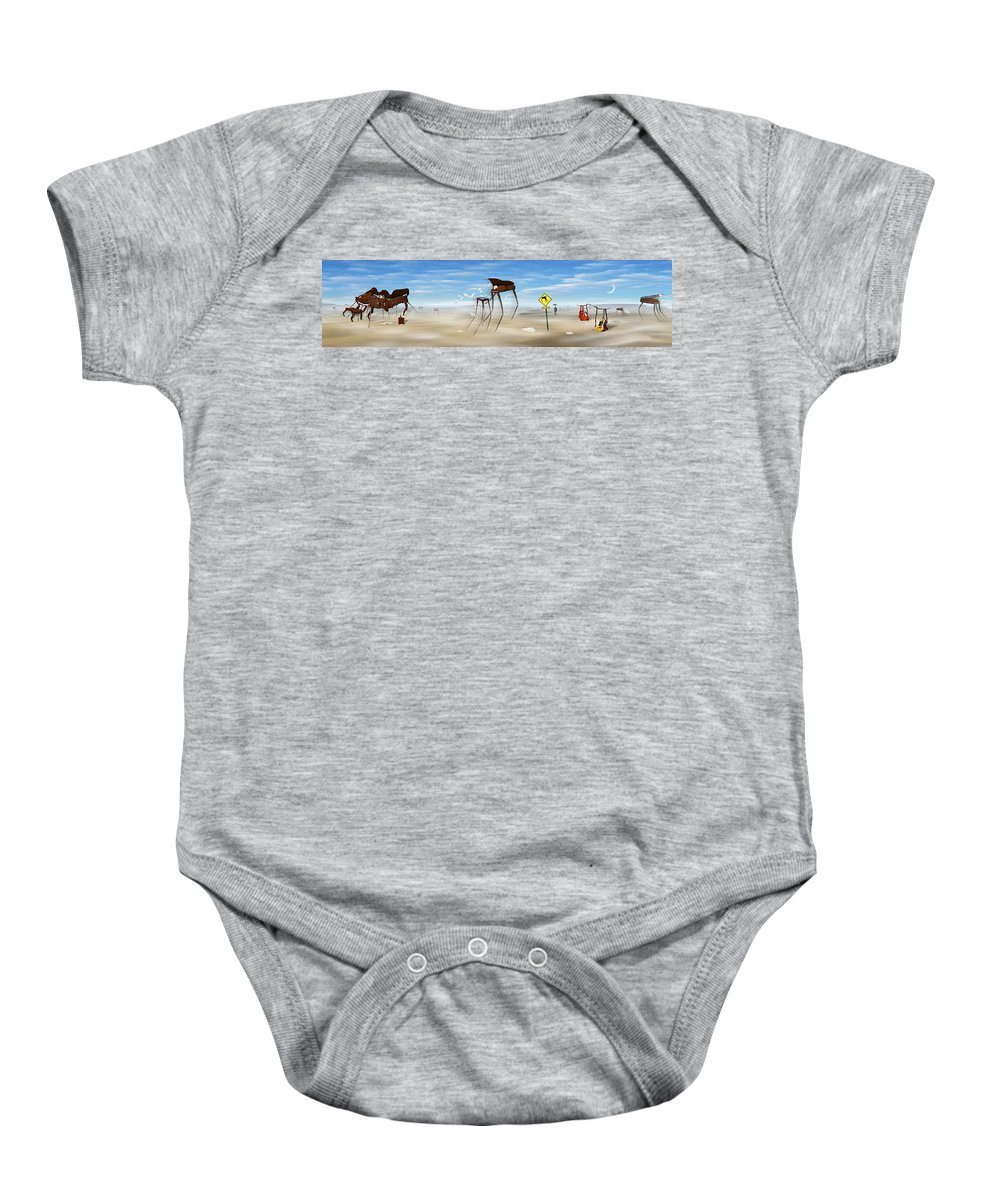 Surrealism Baby Onesie featuring the photograph The Crossing Panorama by Mike McGlothlen