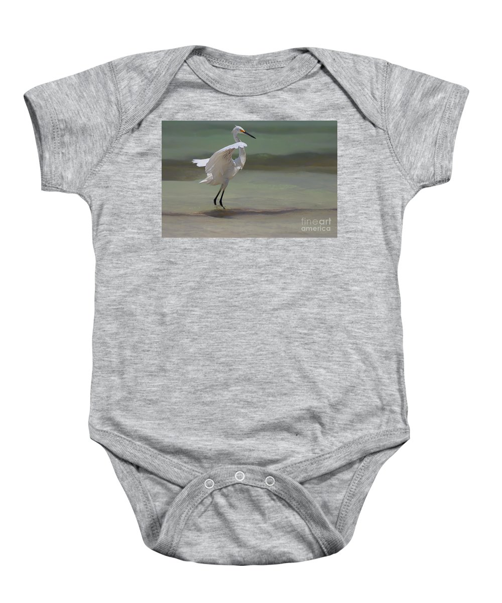 Egret Baby Onesie featuring the photograph The Dance by John Edwards