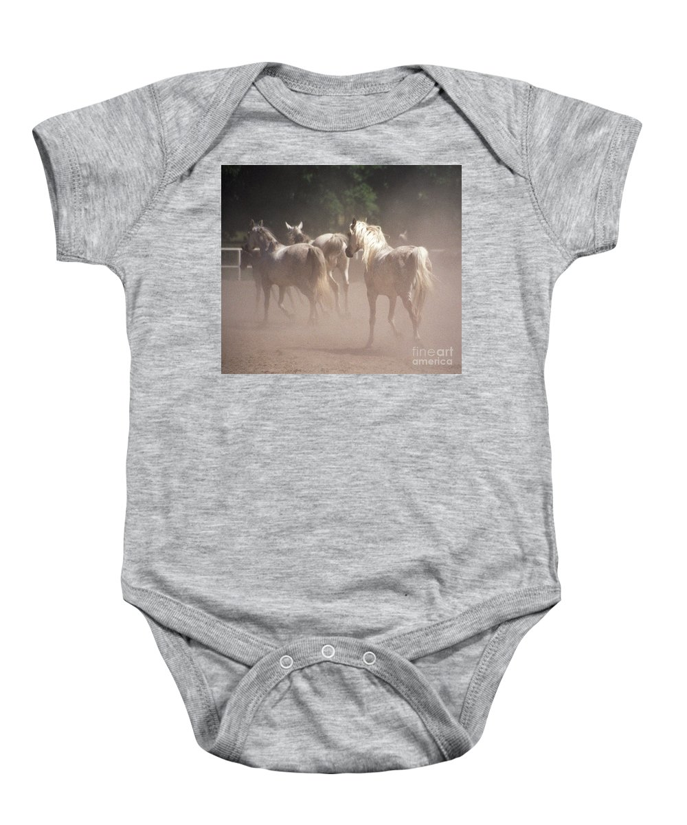 Arabian Horse Baby Onesie featuring the photograph The Daughters Of The Desert by Angel Ciesniarska