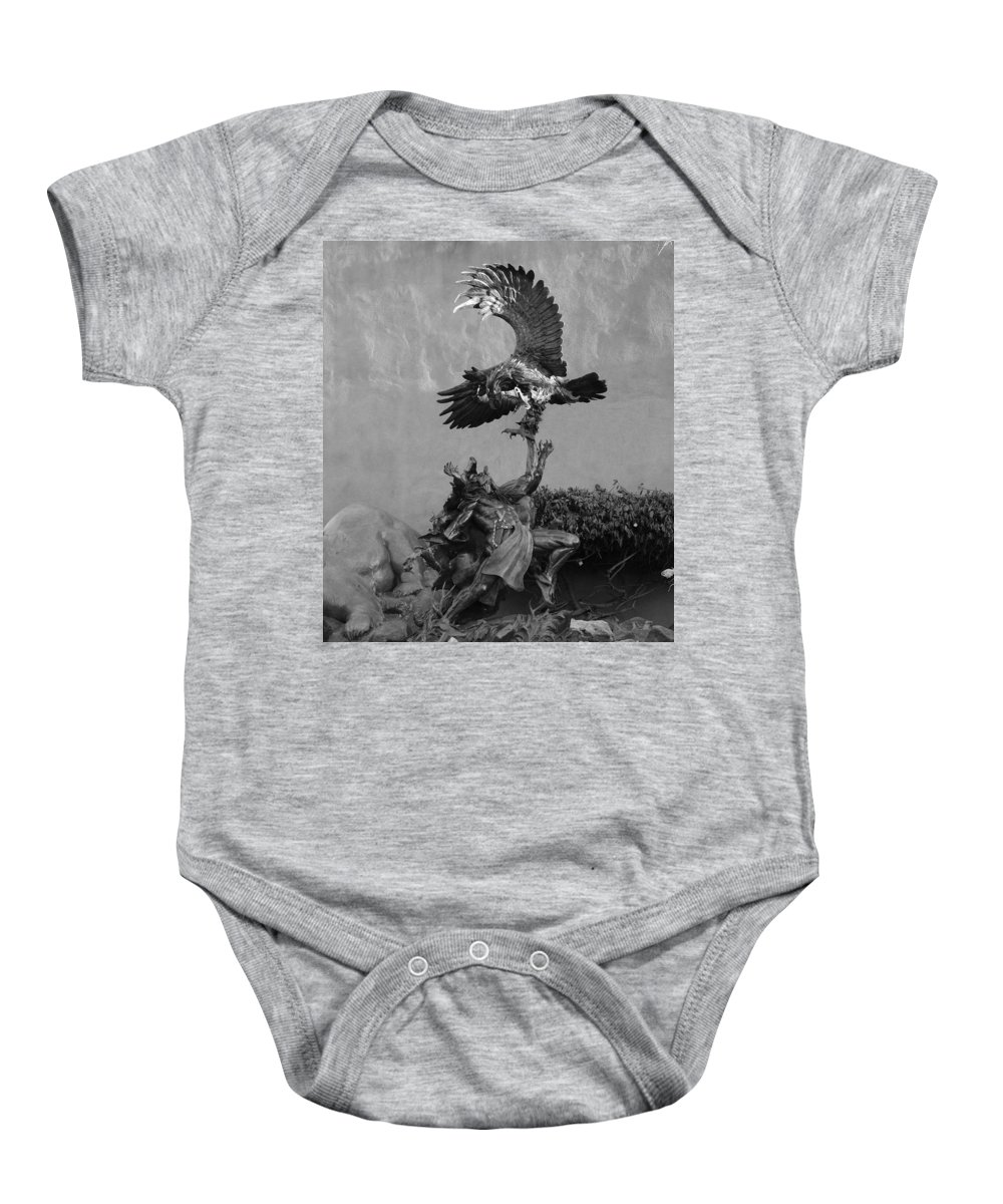Eagle Baby Onesie featuring the photograph The Eagle And The Indian In Black And White by Rob Hans