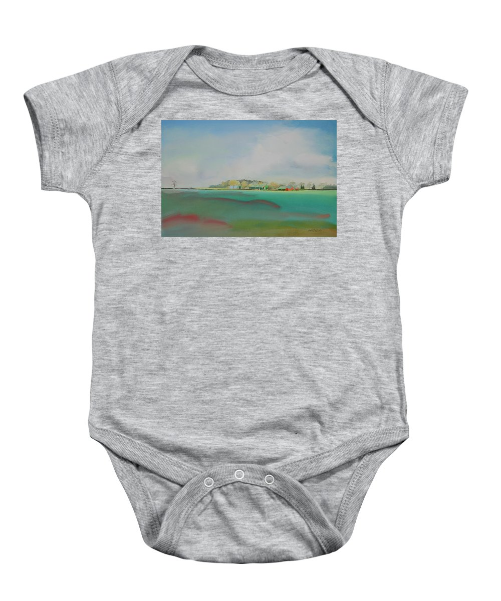 Landscape Baby Onesie featuring the painting The English Farm  A Break In The Cloud by Charles Stuart