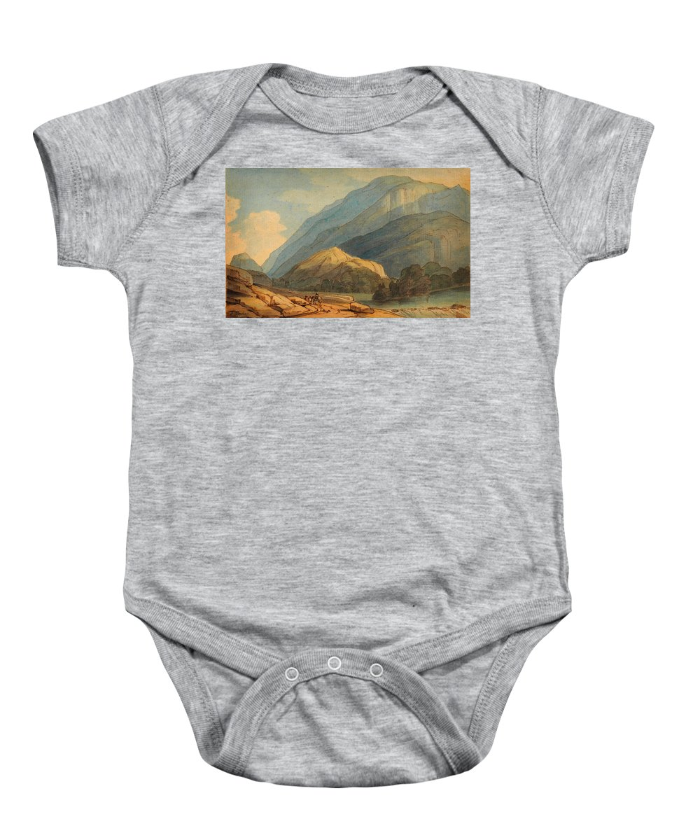 Francis Towne - The Entrance Into Borrowdale Baby Onesie featuring the painting The Entrance Into Borrowdale by Celestial Images
