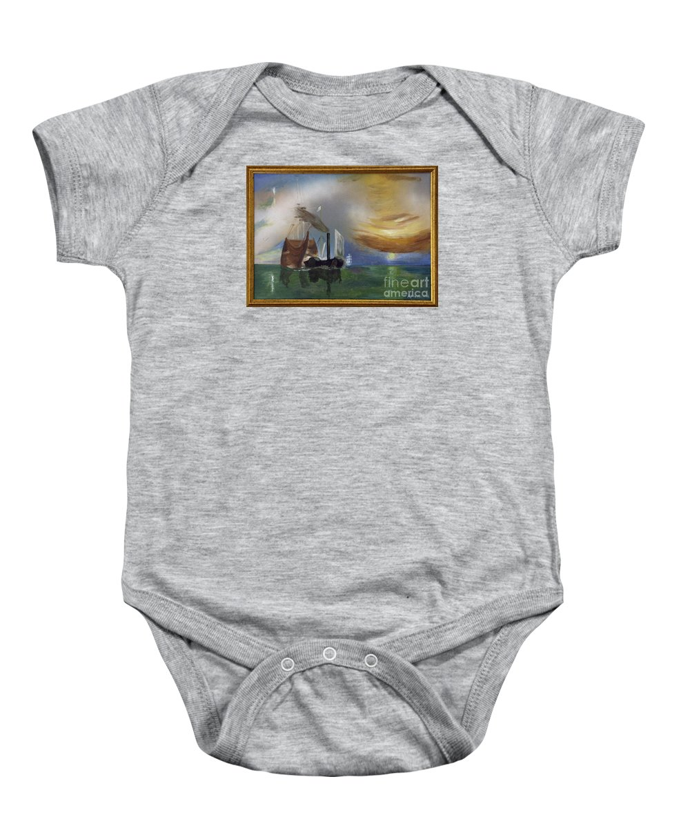 Battle Of Trafalgar Baby Onesie featuring the painting The Fighting Temeraire 1837 by Richard John Holden RA