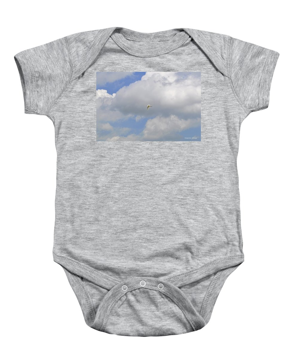 Great Egret Baby Onesie featuring the photograph The Flight Of The Great Egret by Verana Stark