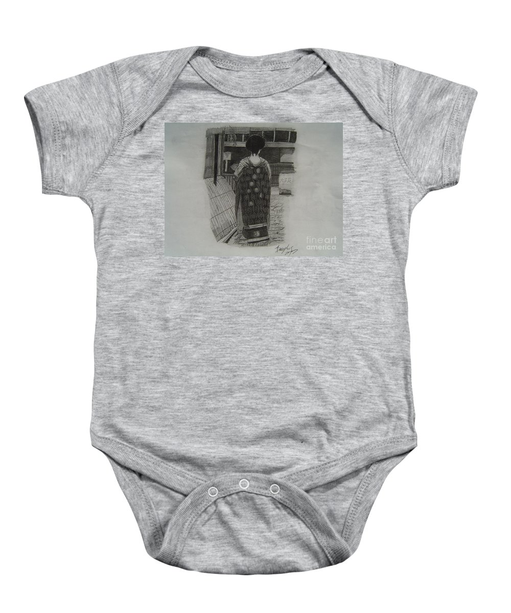 Geisha Baby Onesie featuring the drawing The Geisha by Anthony Dunphy