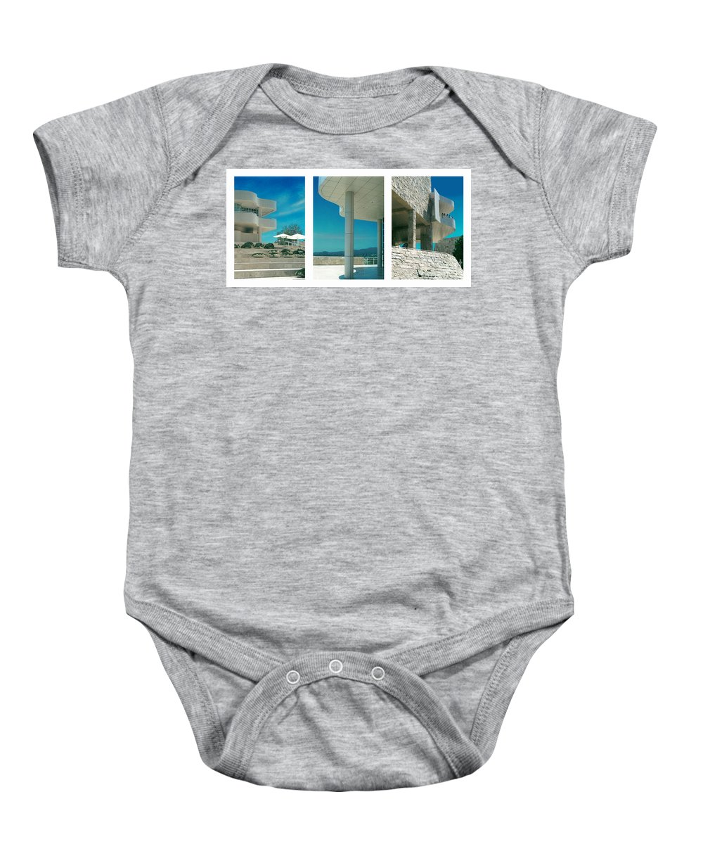 Abstract Baby Onesie featuring the photograph The Getty Triptych by Steve Karol