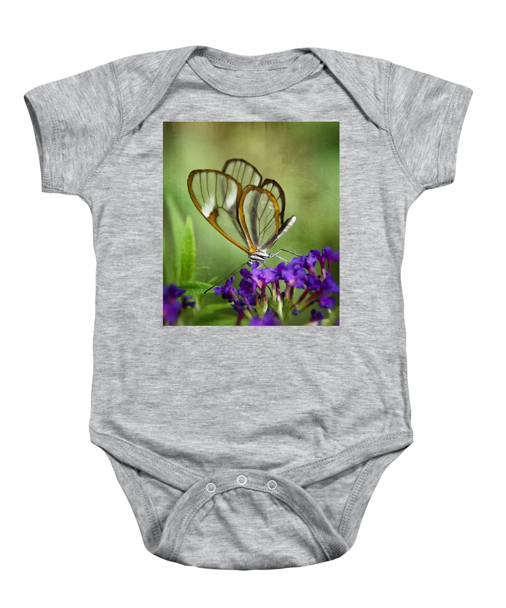 Glasswing Butterfly Baby Onesie featuring the photograph The Glasswing by Saija Lehtonen